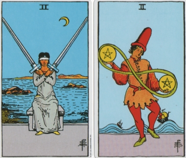 2_swords_2_pentacles-rws